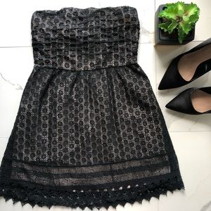 Wet Seal Black and Tan Lace Strapless Dress